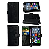 Other For Alcatel One Touch Pixi 4 (4.0 Inch) 4034 - Black Textured Carbon Fibre Style Wallet Flip Skin Protective Case Cover With Retractable Capacitive Stylus Touch Screen Pen (Color: black)