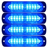Primelux 4 Pack 4.4-inch Ultra Thin Slim Strobe LED Lighthead - Emergency Hazard Beacon Caution Warning Strobe Lights for Truck Car Vehicle Law Enforcement Snow Plow (Blue/Blue) (Color: Blue)