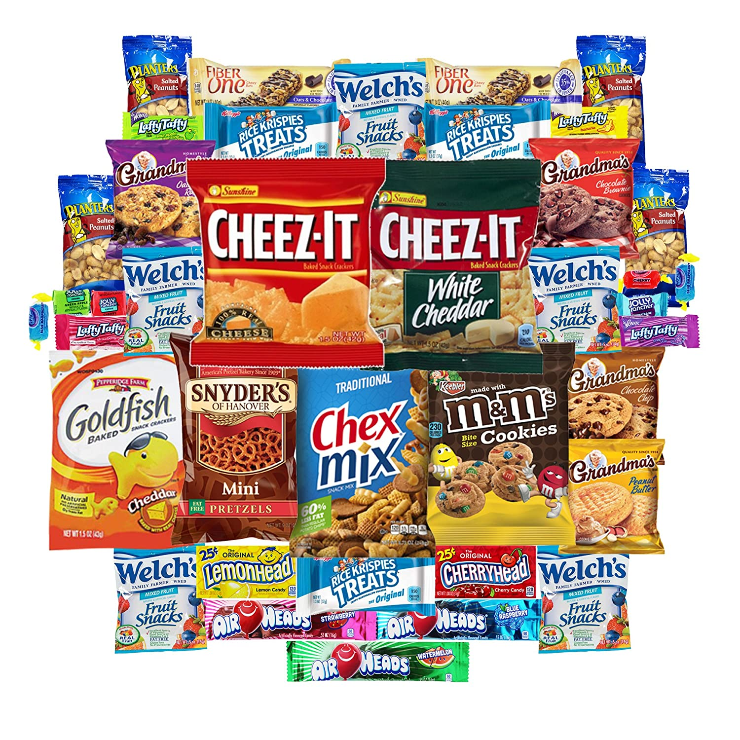 Snack variety pack box picture with a bunch of different snack foods