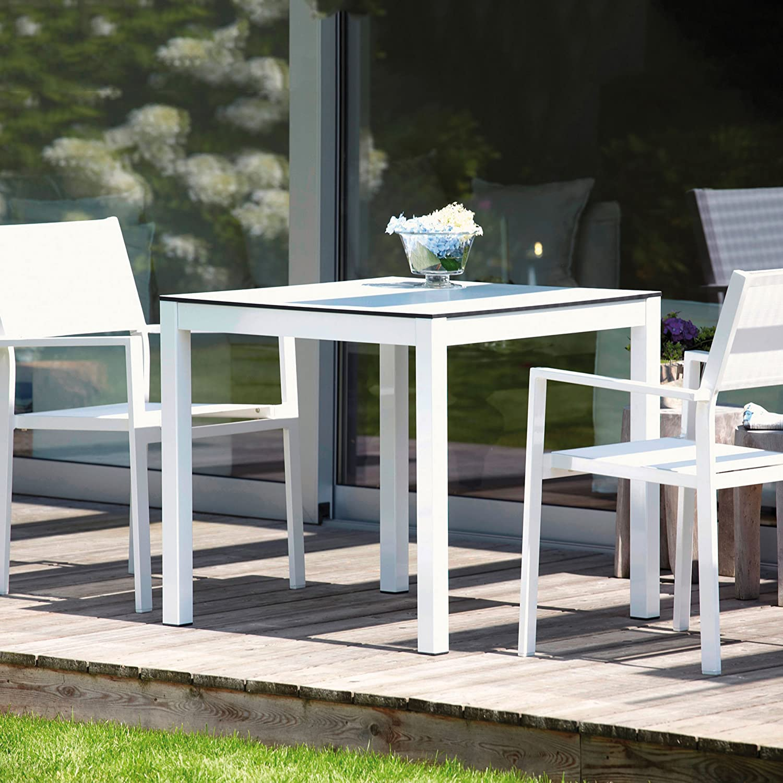 Quadrat Tisch - Gestell weiß, Platte HPL weiß/anthrazit / 90 x 90 cm, h 76 cm