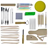 Skilled Crafter Clay Sculpting Tools. 42 Piece Set for Modeling & Detailing, and Ideal for Work on a Potters Wheel. Includes Free Sponge & Needle Tool (Color: Bundle 1)