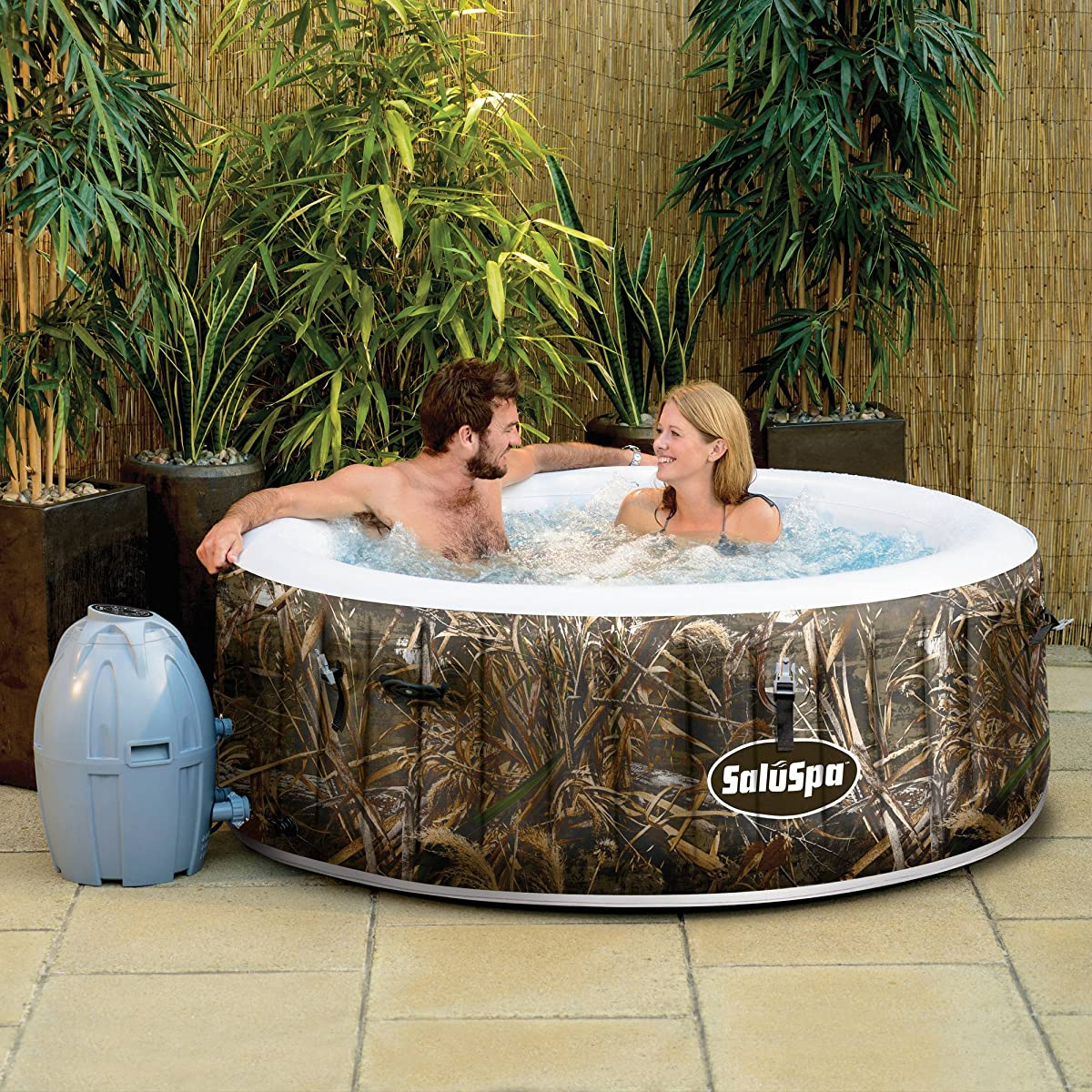 SaluSpa Realtree MAX-5 AirJet 4 Person Portable Inflatable Hot Tub Spa