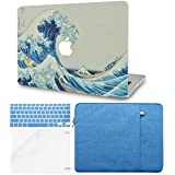 LuvCase 4 in 1 Bundle Rubberized Hard Shell Case with Sleeve, Keyboard Cover and Screen Protector Compatible MacBook Pro 15 Touch Bar Case A1990/A1707 2019/2018/2017/2016 (Japanese Wave) (Color: Japanese Wave with Sleeve, Keyboard Cover and Screen Protector, Tamaño: A1990/A1707 Pro 15