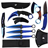 Blade Factory 7pc Tactical Black & Blue Set | Fixed Blade Knife | Karambit Hawkbill Knife | Small Pakkawood Axe | Pocket Knife | 3pc Throwing Knife Set | Holt Multi Tool Keychain