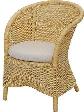 Klassischer Club-Sessel mit Polster aus echtem Natur Rattan / Korbsessel in der Farbe Creme