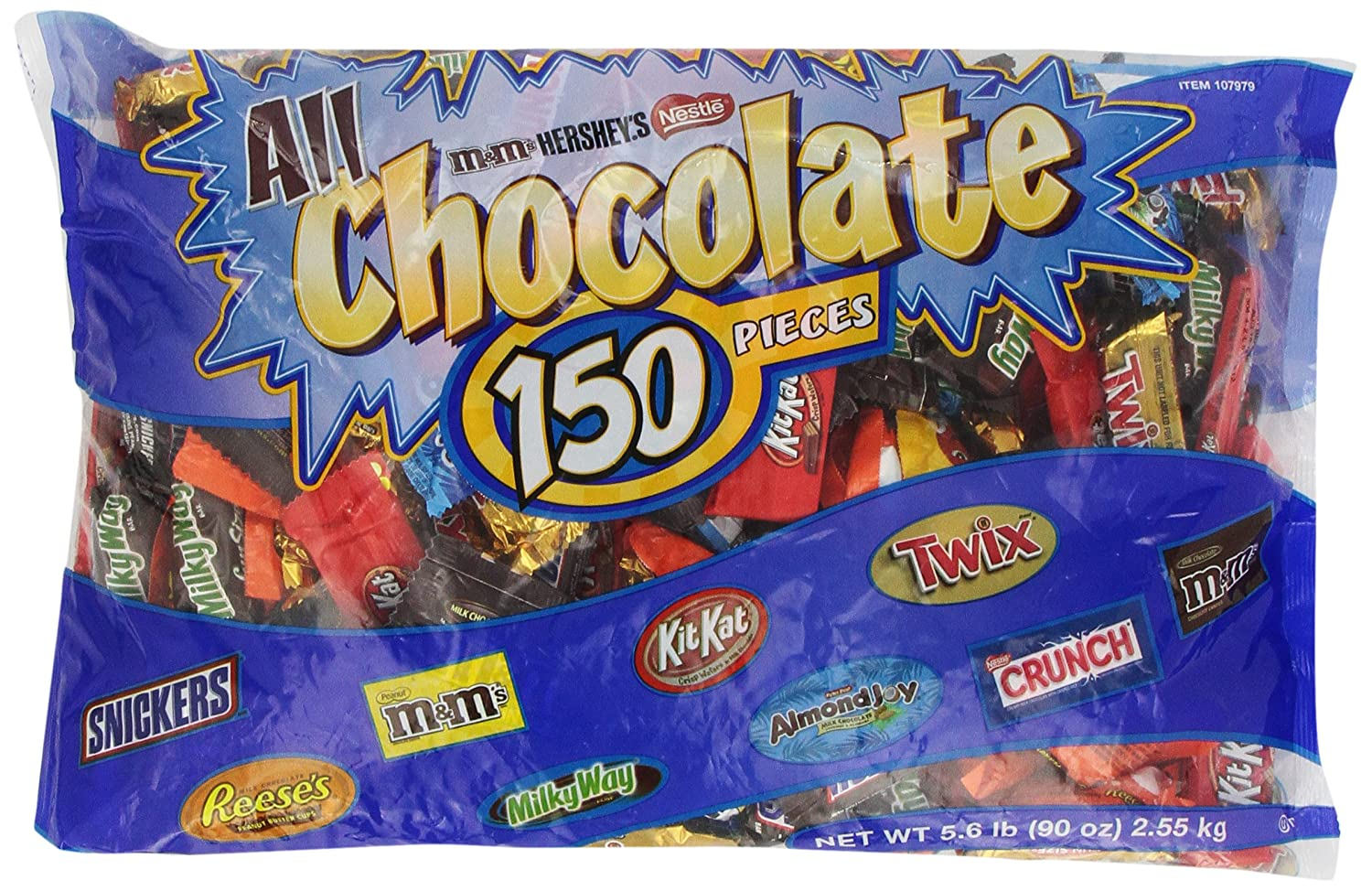 All Chocolate Pieces Hershey's,KitKat,M&M's,Snickers,Twix 90oz