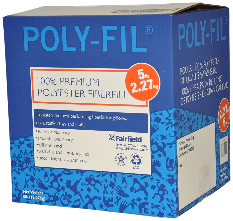 Fairfield Poly-Fil Premium Polyester Fiber, White, 1 Box, 5-Pound