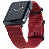 Carterjett Compatible Apple Watch Band 38mm 40mm Series 4 3 2 1 Replacement iWatch Band Red Woven Nylon NATO Gray Steel Buckle Clasp Compatible Apple Watch Nike Sport Edition (38 40 S/M/L Red) (Color: Red Nylon w/ Gray hardware, Tamaño: 38/40mm S/M/L (5