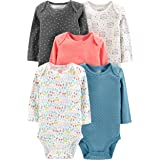 Simple Joys by Carter's Girls' 5-Pack Long-Sleeve Bodysuit, Dots/Owl/Print, 0-3 Months (Color: Dots/Owl/Print, Tamaño: 0-3 Months)