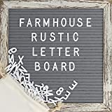 Felt Letter Board with 10x10 Inch Rustic Wood Frame, Script Words, Precut Letters, Picture Hangers | Farmhouse Wall Decor | Shabby Chic Vintage Decor | Grey Felt Message Board (Color: Rustic 10x10 Gray)