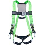 Miller DuraFlex Python Ultra Full-Body Safety Harness with Tubular Webbing & Side D-Rings, Universal Size-Large/XL, 400 lb. Capacity (P950QC-7/UGN)