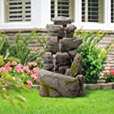 Diensday Rock Waterfall Fountain with LED Light,39.4