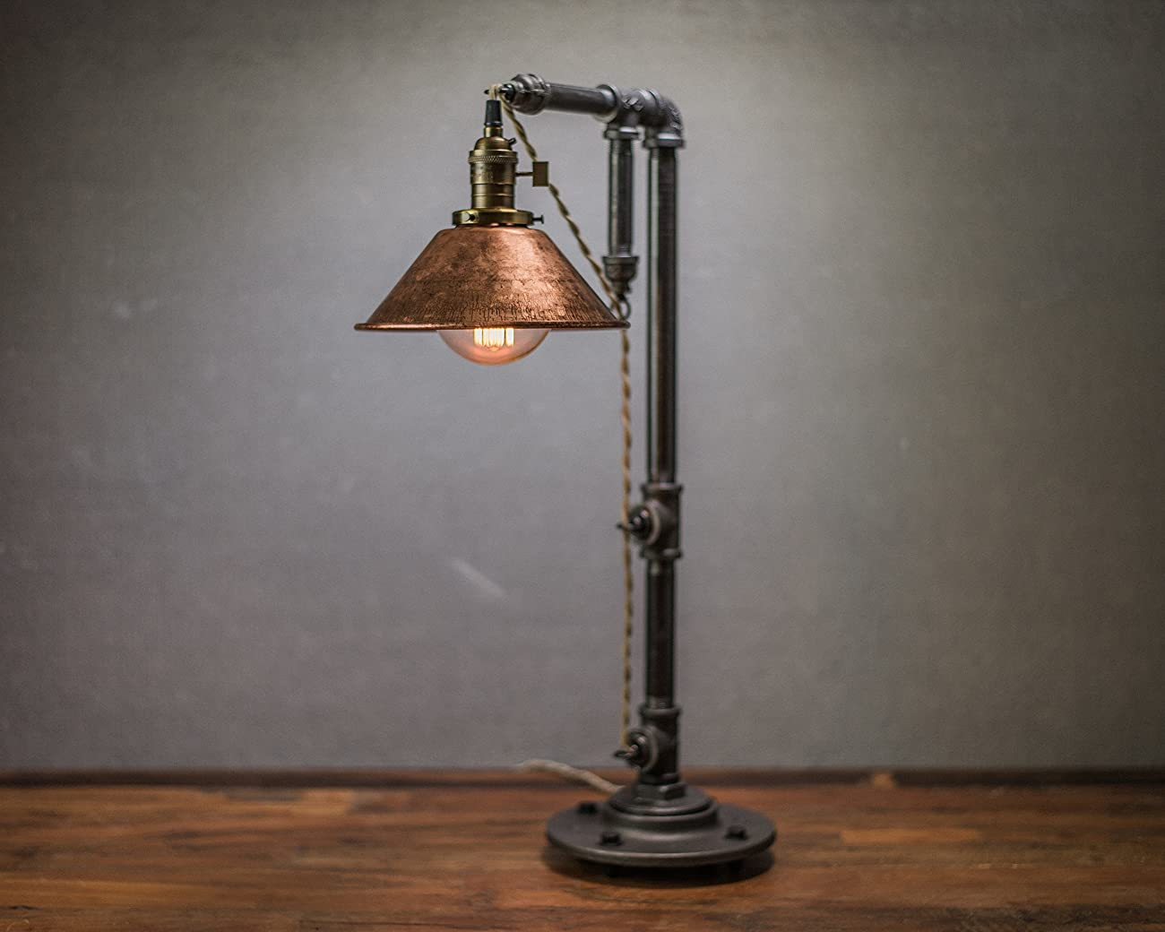 Industrial Style Table Lamp - Pendant Edison Bulb - Copper Shade 0