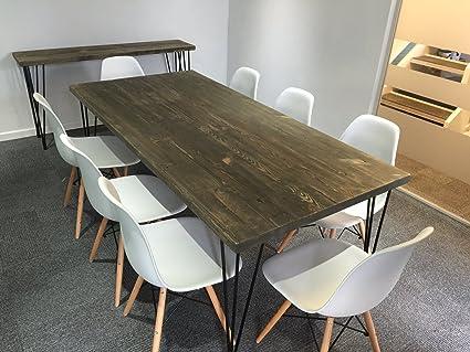 CosyWood Table à manger avec pieds en épingle, Mike (Brown/Green)-Matt Black (powder coated), 6 seater W150xD75xH75cm