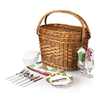 Picnic Time 322-31-124 Romance- Willow Natural with Nouveau Grapes Picnic Basket
