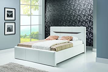 LIONEL white upholstered bed frame 160 cm wide bed with bed slats pocket sprung mattress storage bedroom furniture faux leather beds
