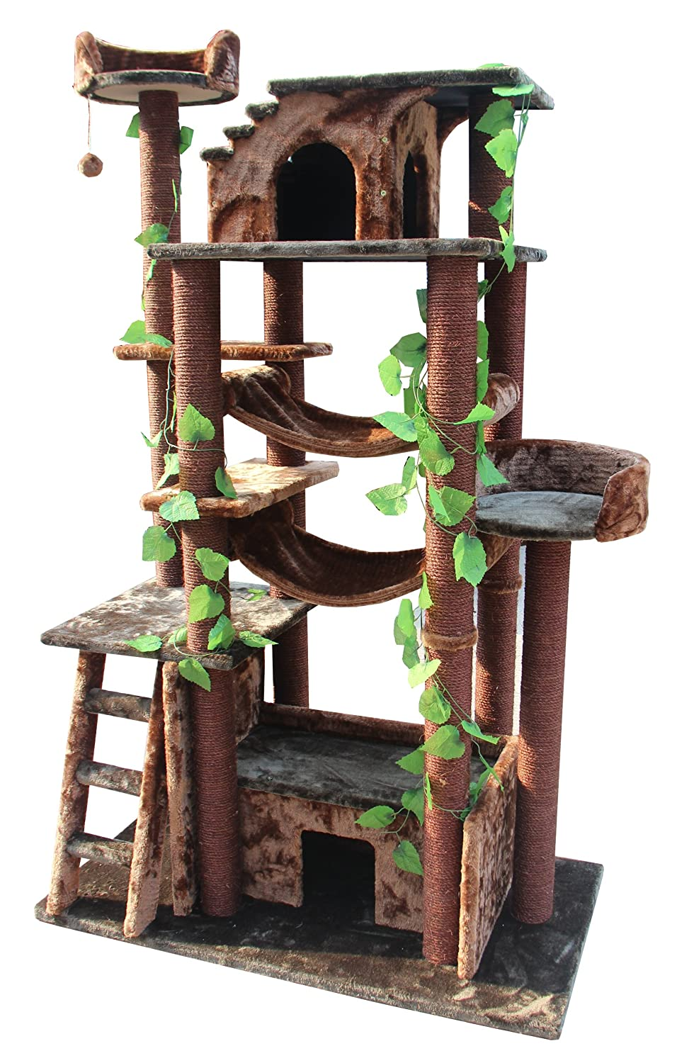 kitty mansions amazon cat tree green brown