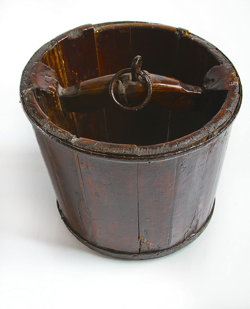 Vintage Chinese Wooden Pail, Brown, 10.5