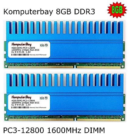 Komputerbay 8GB (2x 4GB) DDR3 DIMM (240 broches) 1600Mhz PC3 12800 8GB KIT 9-9-9-25 avec la série Crown Epandage chaleur pour le refroidissement supplémentaire