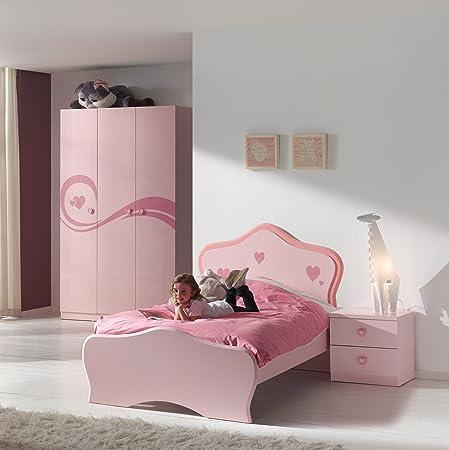 Vipack LIZCO3 Lizzy Chambre Complete Lit Chevet/Armoire avec 3 Portes MDF Rose Laqué