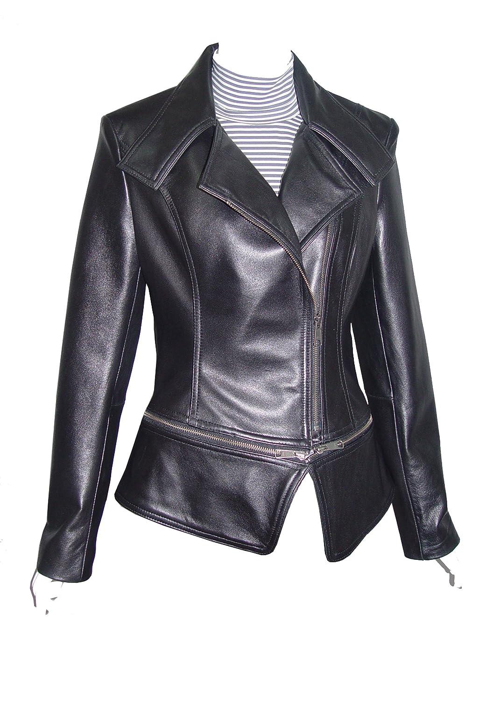 Nettailor WoHerren 4092 Lammskin Leder l?ssig Moto Blazer Rei?verschluss Front Big Revers online bestellen