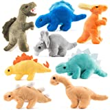 Prextex Plush Dinosaurs 8 Pack 5'' Long Great Gift Kids Stuffed Animal Assortment Great Set Kids (Tamaño: 5 inches)