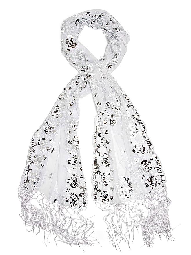 1920sAccessoriesGuide Madison Shawl Long Fringe Sequin Evening Wrap  AT vintagedancer.com