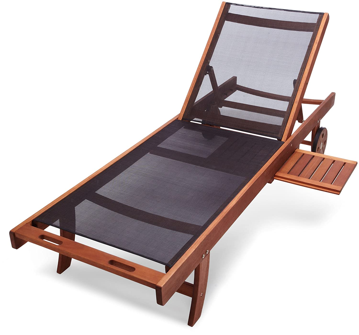 Basics Chaise Lounge Chair 5 Reclining Position Eucalyptus Wood Textilene Fabric