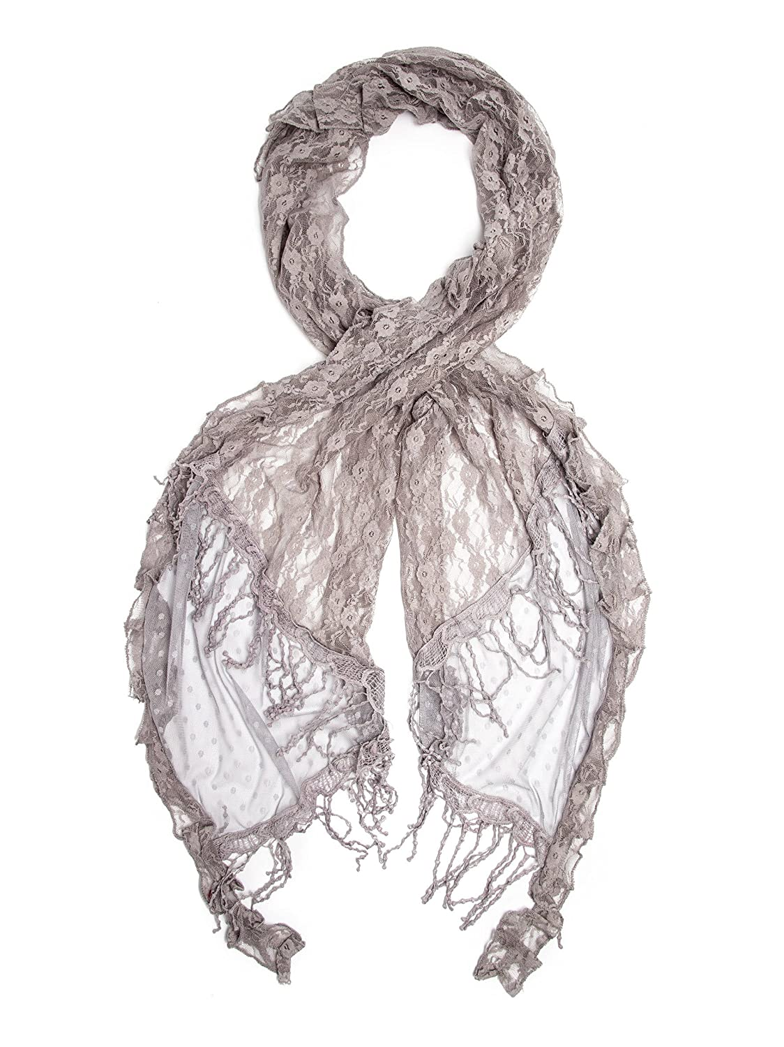 Victorian Wraps, Capes, Shawl, Capelets Vintage Inspired Lace Crochet Trim Scarf $22.95 AT vintagedancer.com