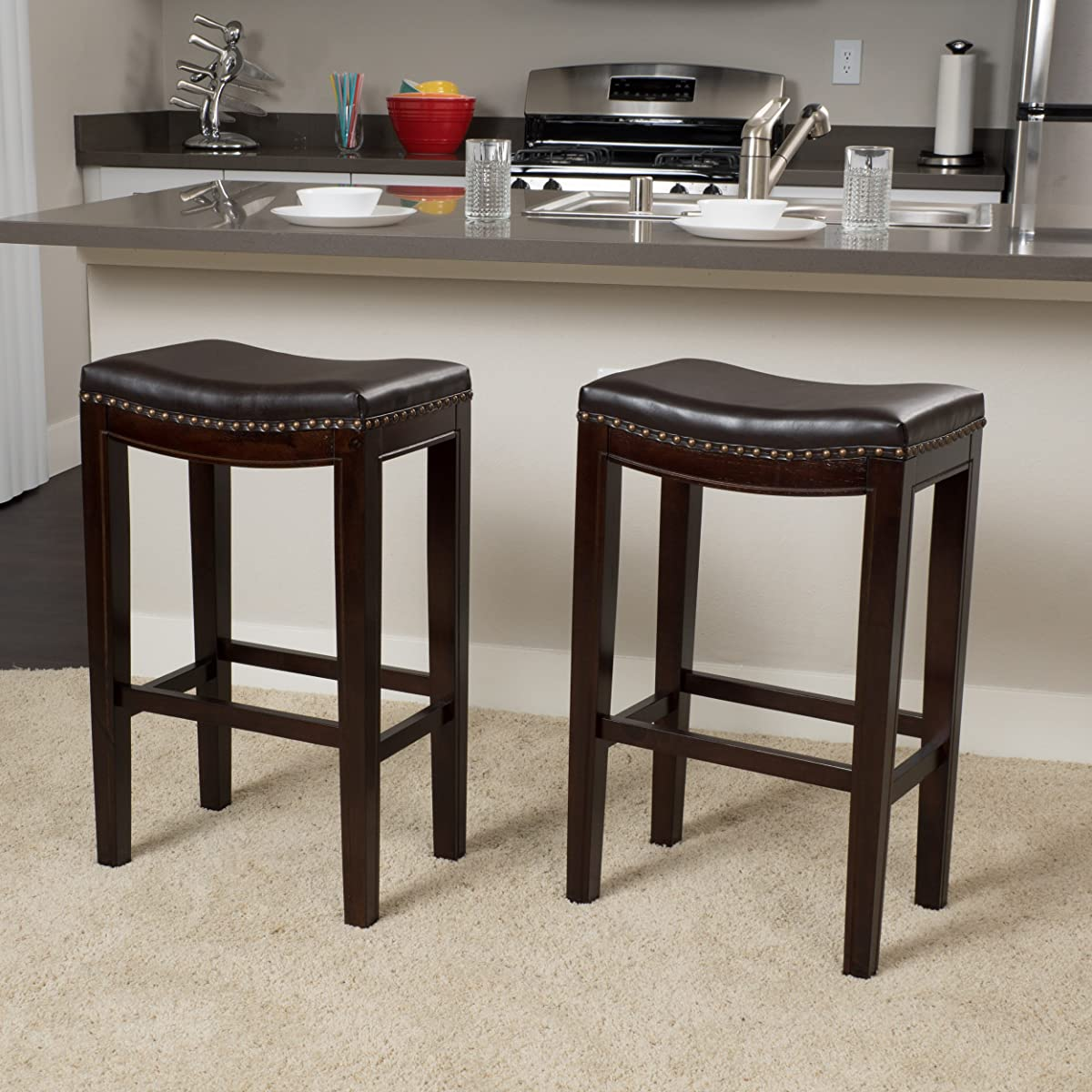 Jaeden Backless Brown Leather 30 high Bar Stools (Set of 2)