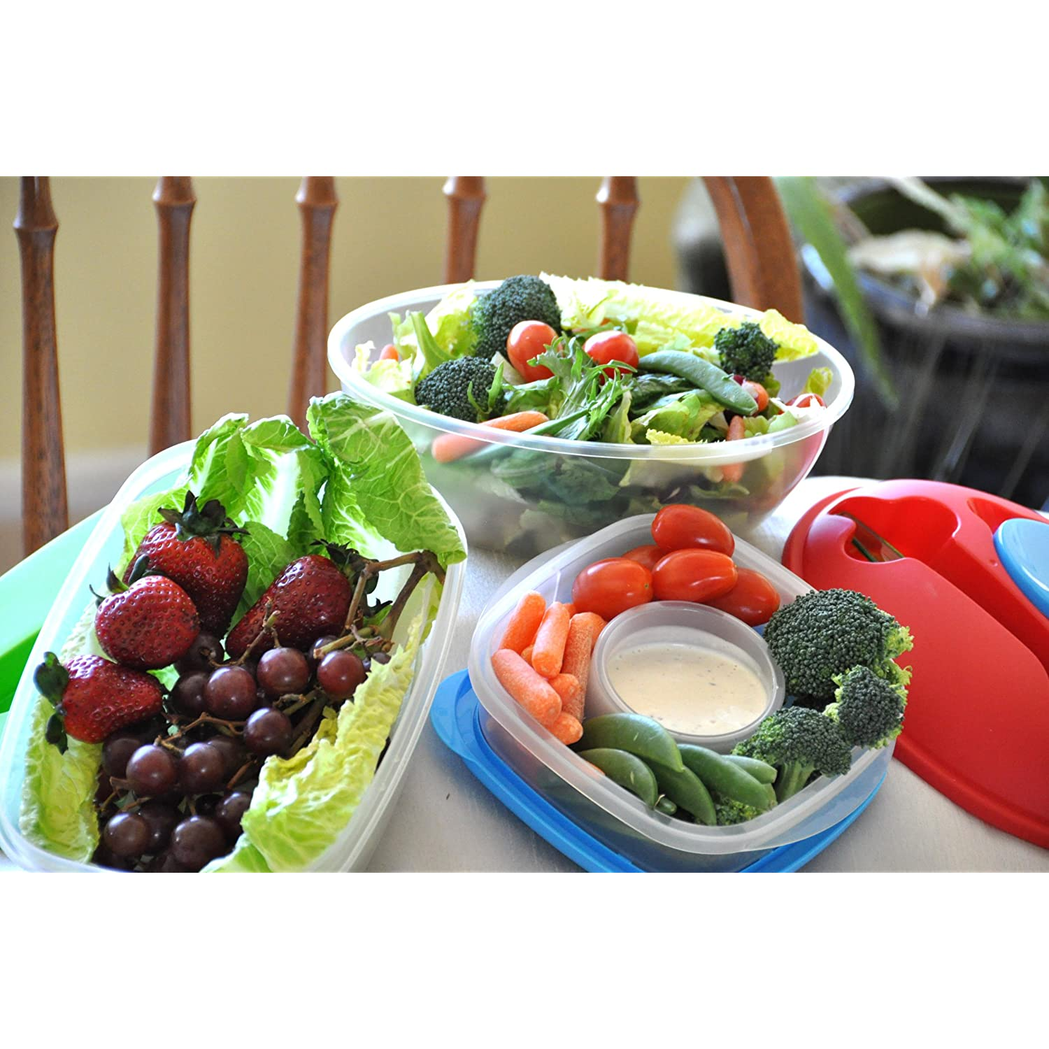 Lunch Box for Work 3 Shapes & Sizes-Salad, Food & Veggie Containers with Easy Open Lids Set of 3