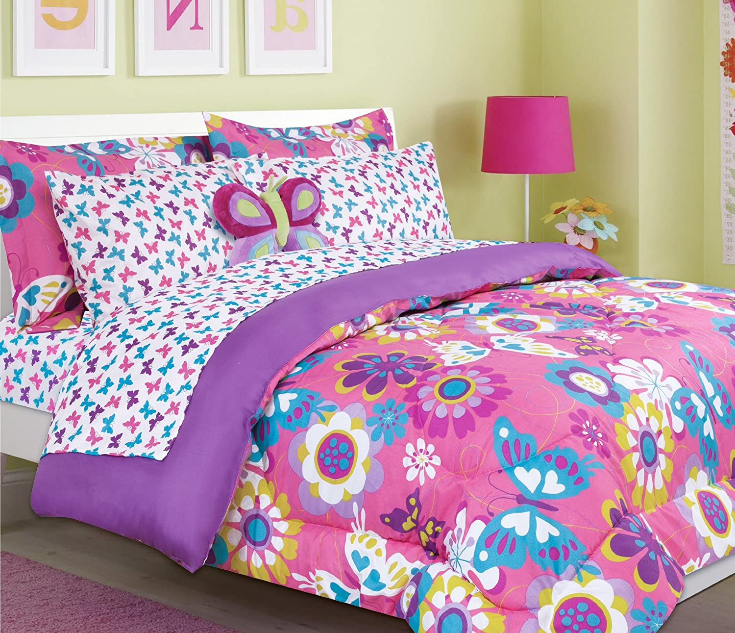 Beautiful butterfly and flower print girls/teen comforter set (twin size)