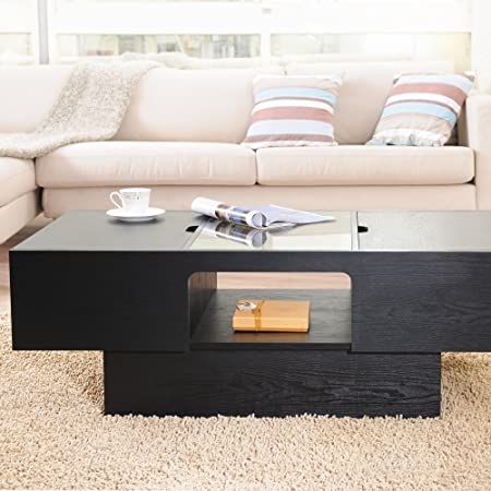 Beautifully Crafted Black Coffee Table With Lift-Up Side Panels Which Unveil Ample Storage Compartments. Durable, Functional, Elegant.