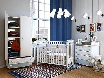 """Babyzimmer """"AMSTERDAM"""" Art.-Nr.: 02.07; 22.07; 27.1.07 , Kinderzimmer Komplett Set 3-tlg., in Weiß, Kleiderschrank B: 90 cm, Wickelkommode B: 90 cm, Babybett Liegefläche 60 x 120 cm"""