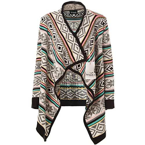 Soeach Womens Aztec Tribal Striped Geometric Patterns Cardigan Sweater