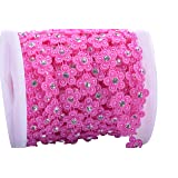 KAOYOO 10 Yards New Flower Shaped with Rhinestone Chain Sew On Trims Wedding Dress Beaded Trim (Color: Pink)