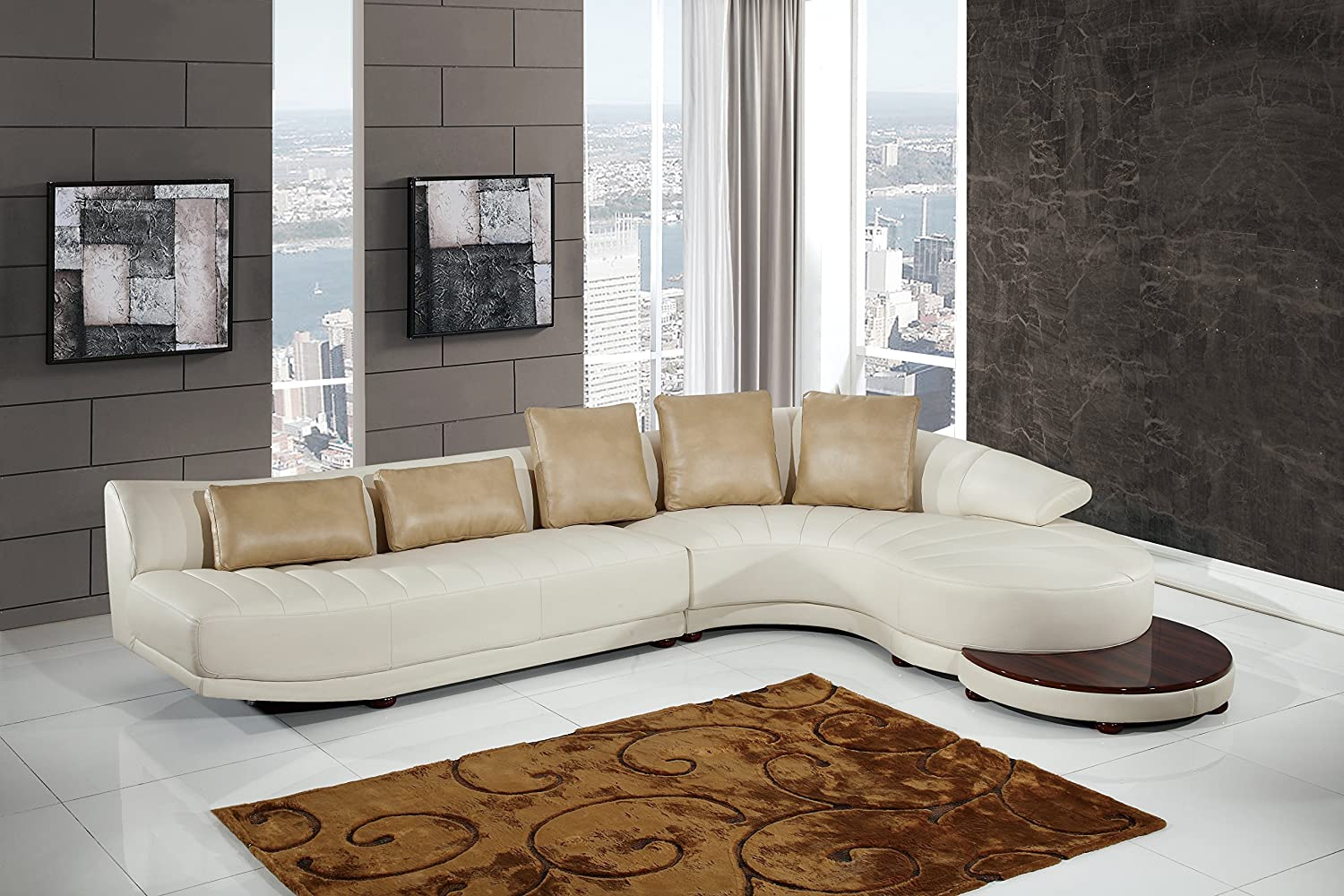 Global Furniture UFM208 - SECTIONAL Blanche Sectional - Milky/Ivory