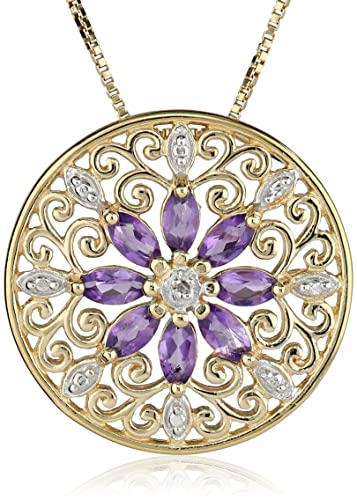 18k-Yellow-Gold-Plated-Sterling-Silver-Gemstone-Diamond-Accent-Filigree-Medallion-Pendant-Necklace-18-