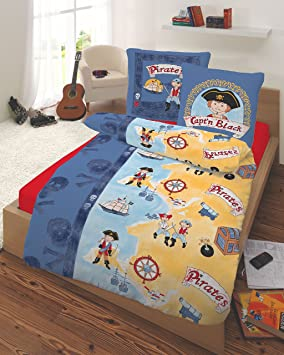 bettw sche 135x200 s e kinderbettw sche jungen baumwolle piraten piratenschiff blau mit. Black Bedroom Furniture Sets. Home Design Ideas