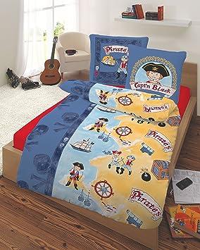 bettw sche 135x200 s e kinderbettw sche jungen baumwolle piraten piratenschiff blau mit. Black Bedroom Furniture Sets. Home Design Ideas