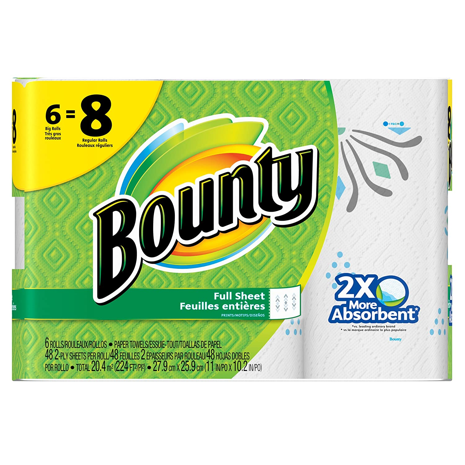 Bounty Paper Towels, Prints, 6 Big Rolls