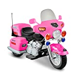 National Products 12V Police Motorcycle - Pink (Color: Pink, Tamaño: 48.43x24.17x32.24