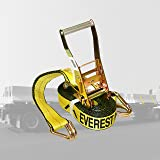 Everest Premium Ratchet Tie Down – 1 PK – 2 IN – 27 FT – 3333 LBS Working Load – 10000 LBS Break Strength – Double J Hook – Cargo Straps Perfect for Moving Appliances, Lawn Equipment and Motorcycles (Color: Vibrant Everest Yellow)