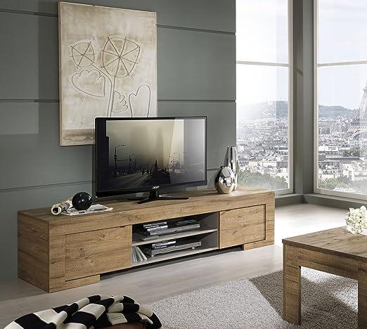 Milano, mobile TV con 2 ante e 1 ripiano in legno, 190 x 45 x 51 cm, quercia cleaf miele, a imitazione del legno