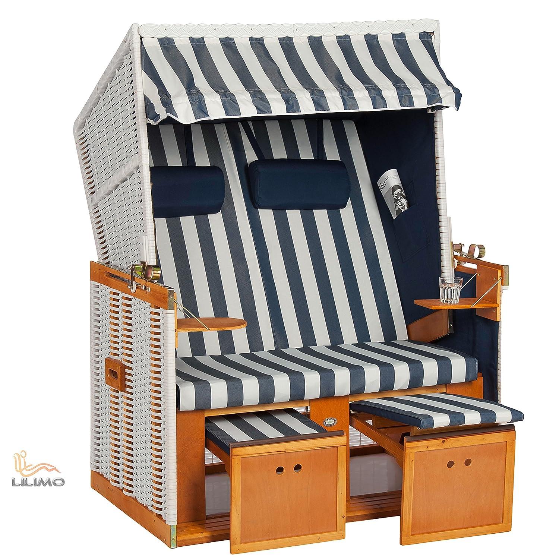 Strandkorb Nordsee Deluxe BLE blau-weiß, Geflecht weiß, LILIMO ® günstig bestellen