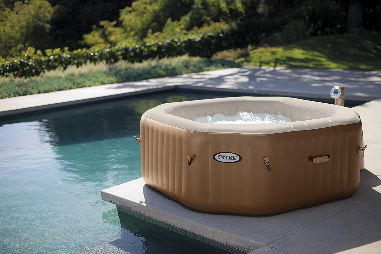 This blow up jacuzzi by Intex features fiber-tech construction and 120 heated bubble jets.
