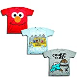 Sesame Street Little Boys' Toddler 3 Pack T-Shirt Bundle, Sky Blue/Red/Heather Grey, 3T (Color: Sky Blue/Red/Heather Grey, Tamaño: 3T)