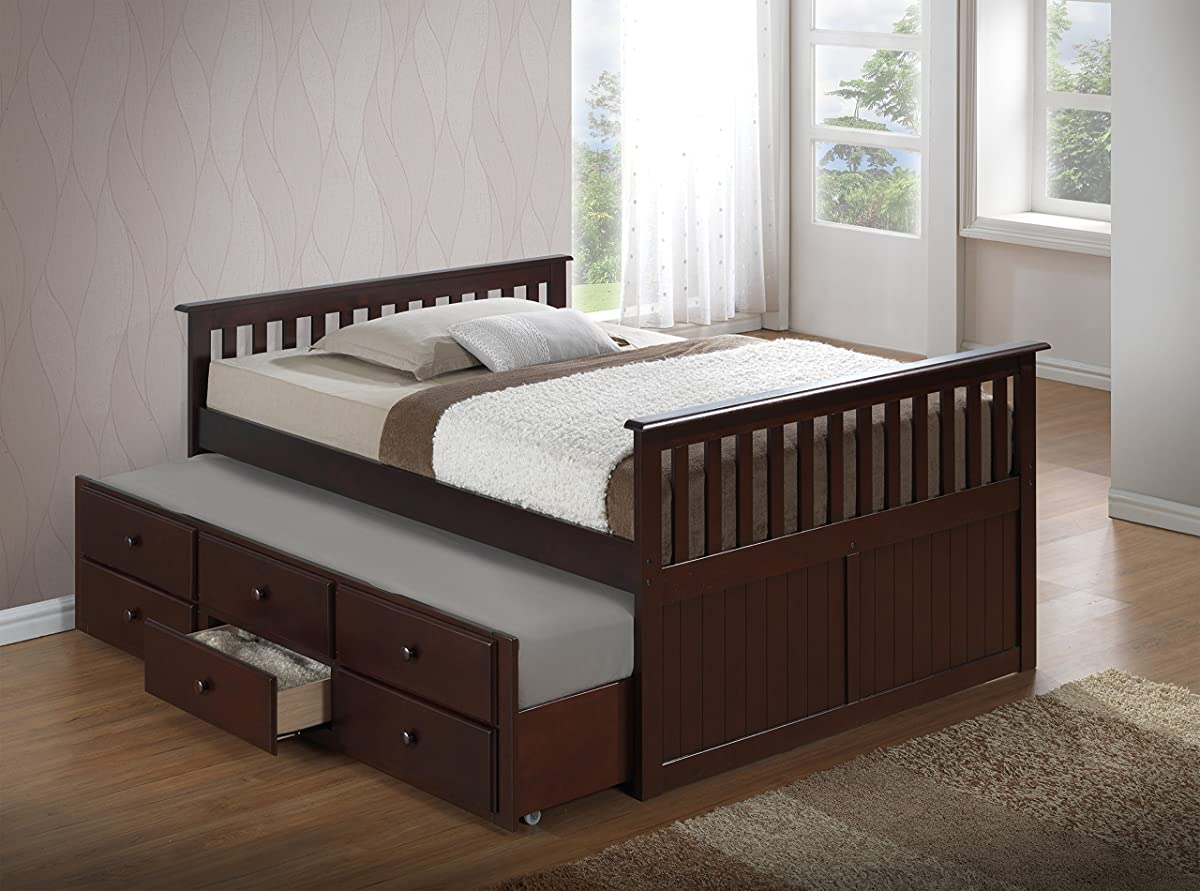 Broyhill Kids Marco Island Full Captains Bed with Trundle, Espresso Full-Sized Bed with Twin-Sized Trundle, Bunk Bed Alternative, Great for Sleepovers, Underbed Storage/Organization