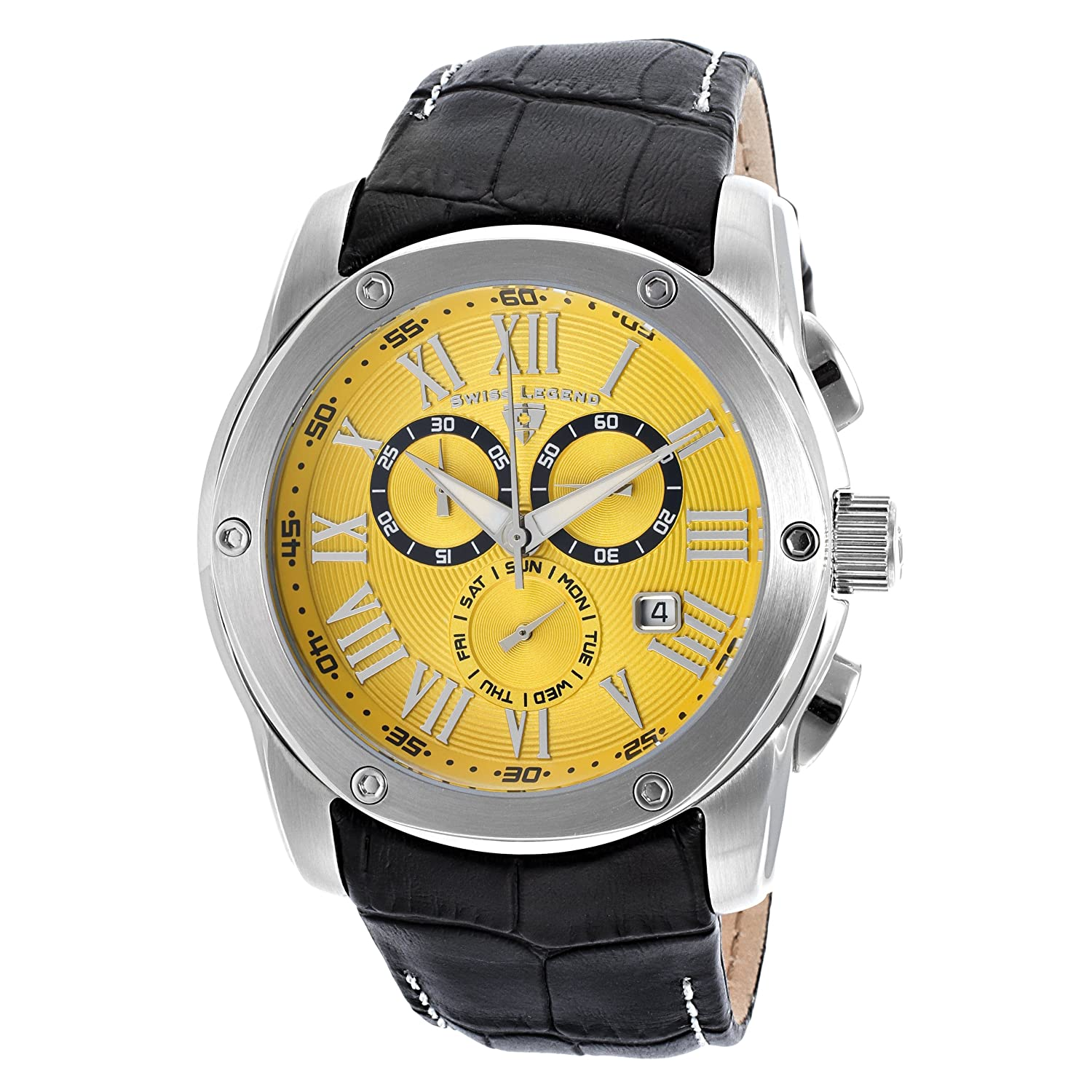 Swiss Legend Men's 10005-07 Traveler Chronograph Yellow Textured Dial Black Leather Watch