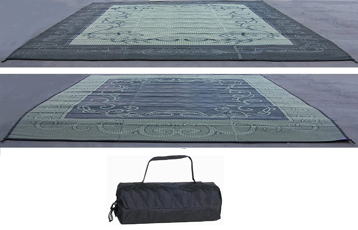 RV TRAILER PATIO BEACH CAMPING REVERSIBLE OUTDOOR MAT 9x12